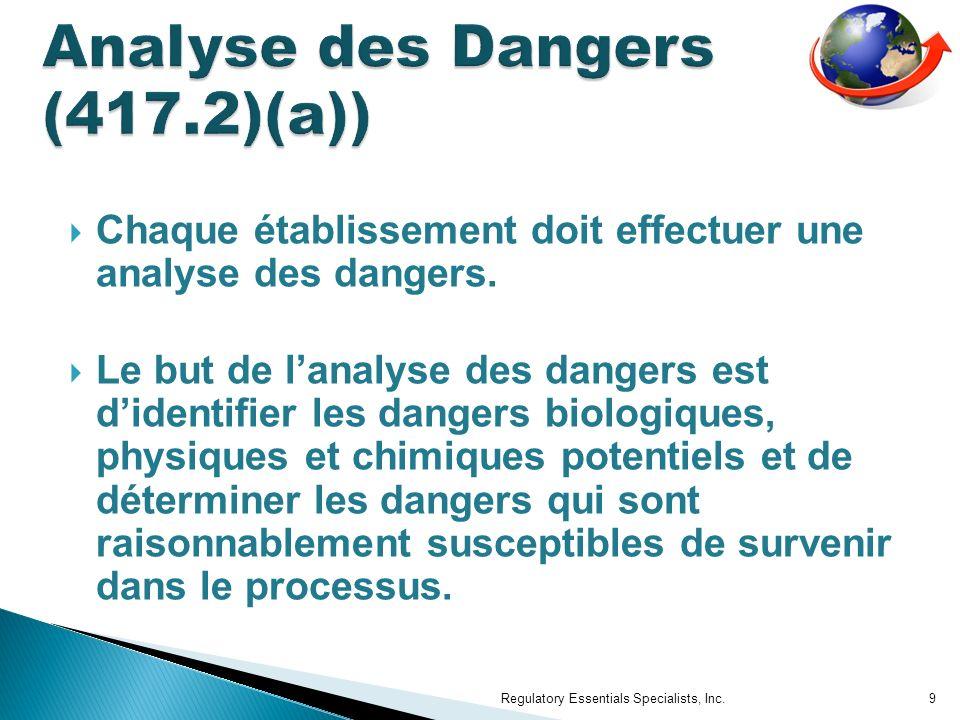 Chaque établissement doit effectuer une analyse des dangers.