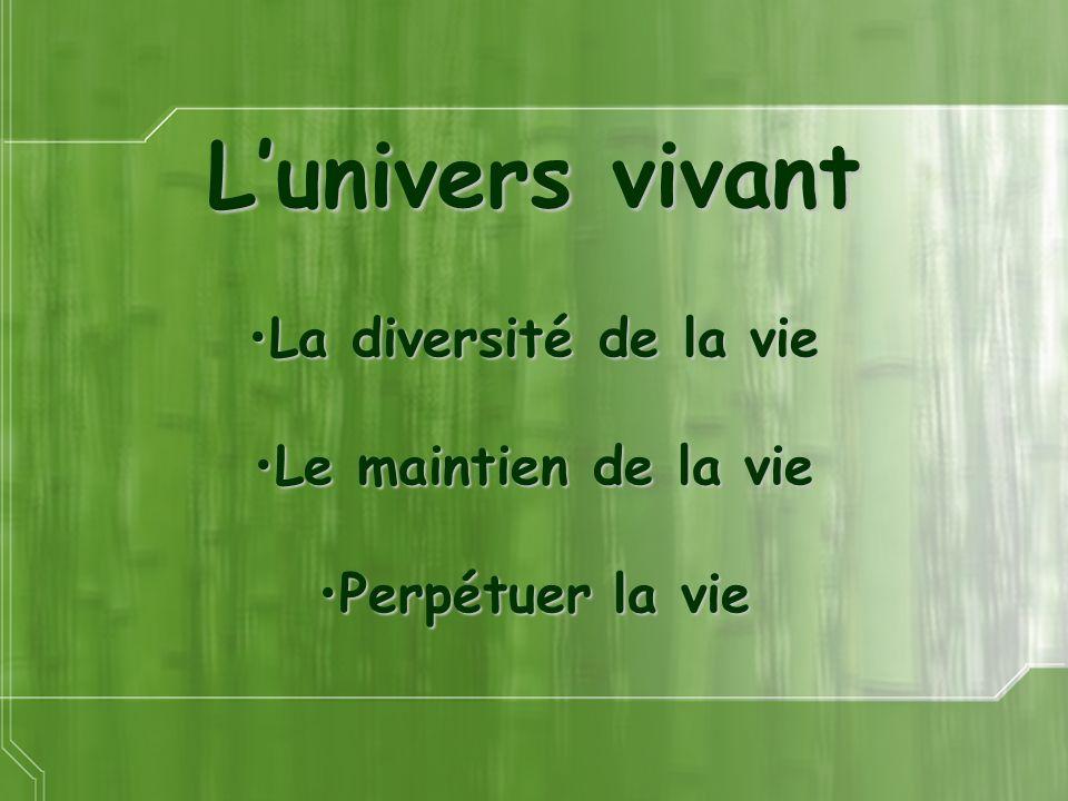 Lunivers vivant La diversité de la vieLa diversité de la vie Le maintien de la vieLe maintien de la vie Perpétuer la viePerpétuer la vie