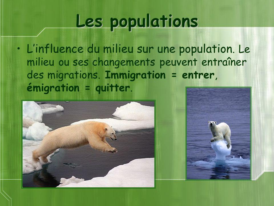 Les populations Linfluence du milieu sur une population. Le milieu ou ses changements peuvent entraîner des migrations. Immigration = entrer, émigrati