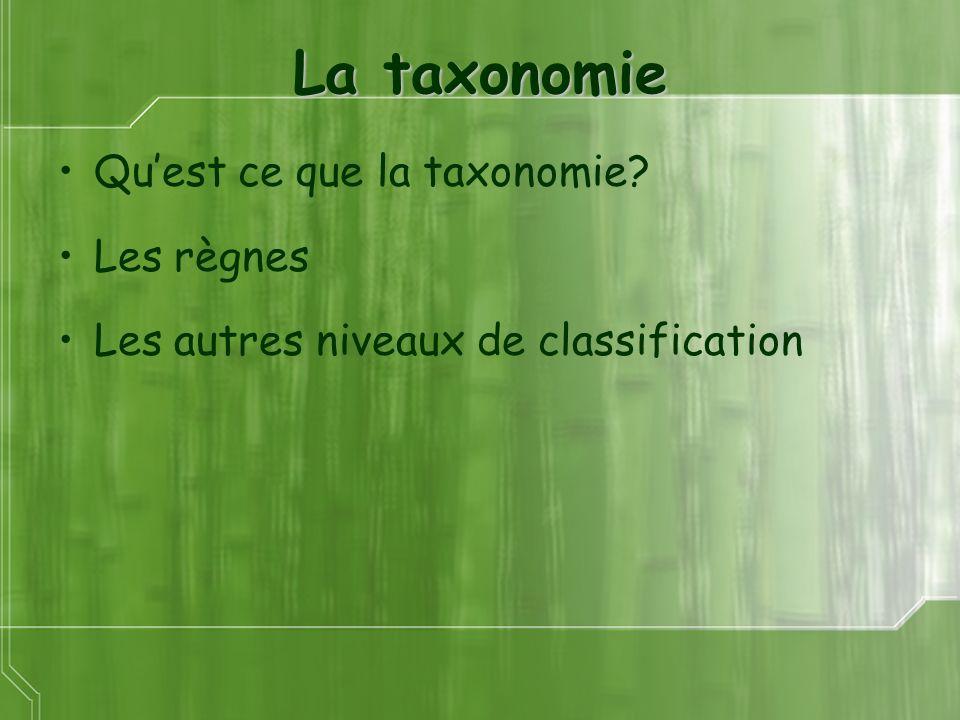 La taxonomie Quest ce que la taxonomie? Les règnes Les autres niveaux de classification