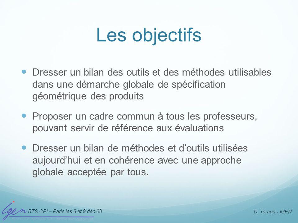 BTS CPI – Paris les 8 et 9 déc 08 D. Taraud - IGEN Les objectifs Dresser un bilan des outils et des méthodes utilisables dans une démarche globale de