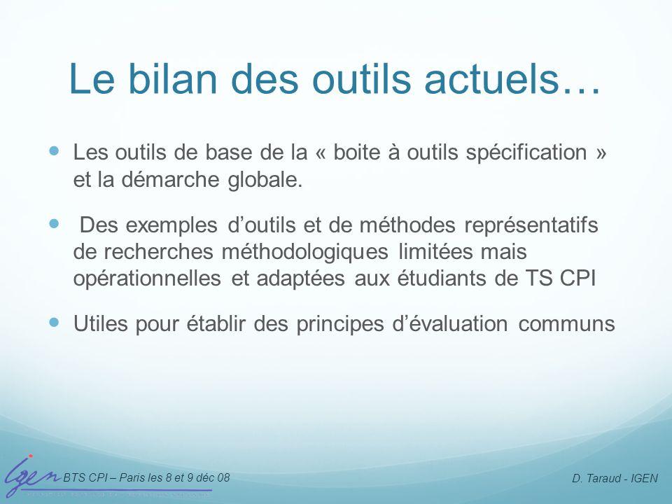 BTS CPI – Paris les 8 et 9 déc 08 D. Taraud - IGEN Le bilan des outils actuels… Les outils de base de la « boite à outils spécification » et la démarc