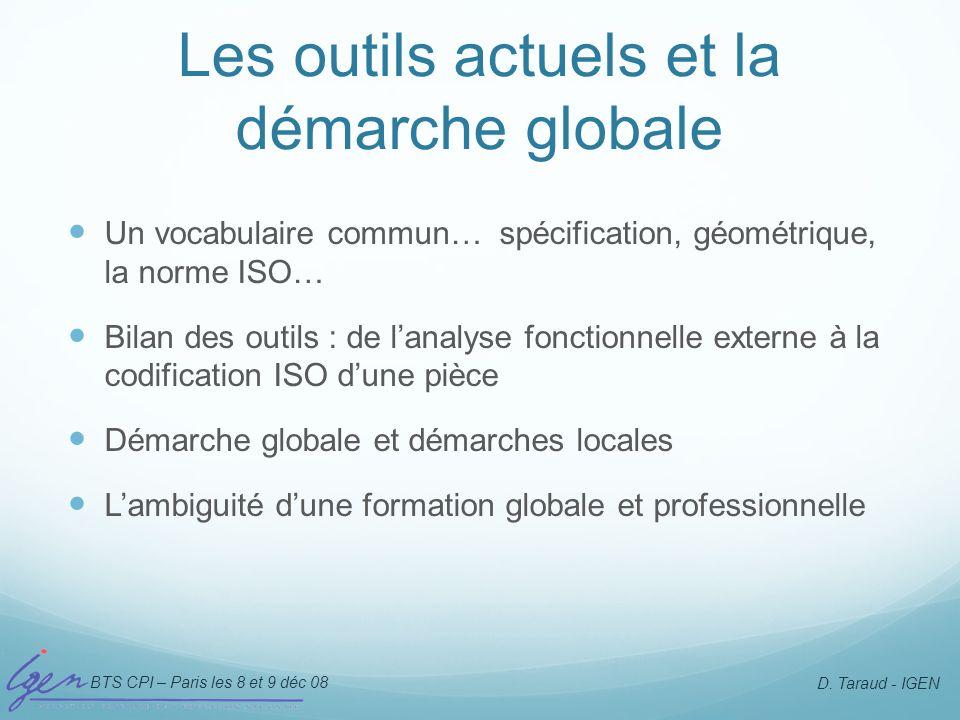 BTS CPI – Paris les 8 et 9 déc 08 D. Taraud - IGEN Les outils actuels et la démarche globale Un vocabulaire commun… spécification, géométrique, la nor