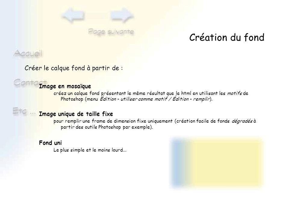 Création du fond Créer le calque fond à partir de : Image en mosaïque créez un calque fond présentant le même résultat que le html en utilisant les mo