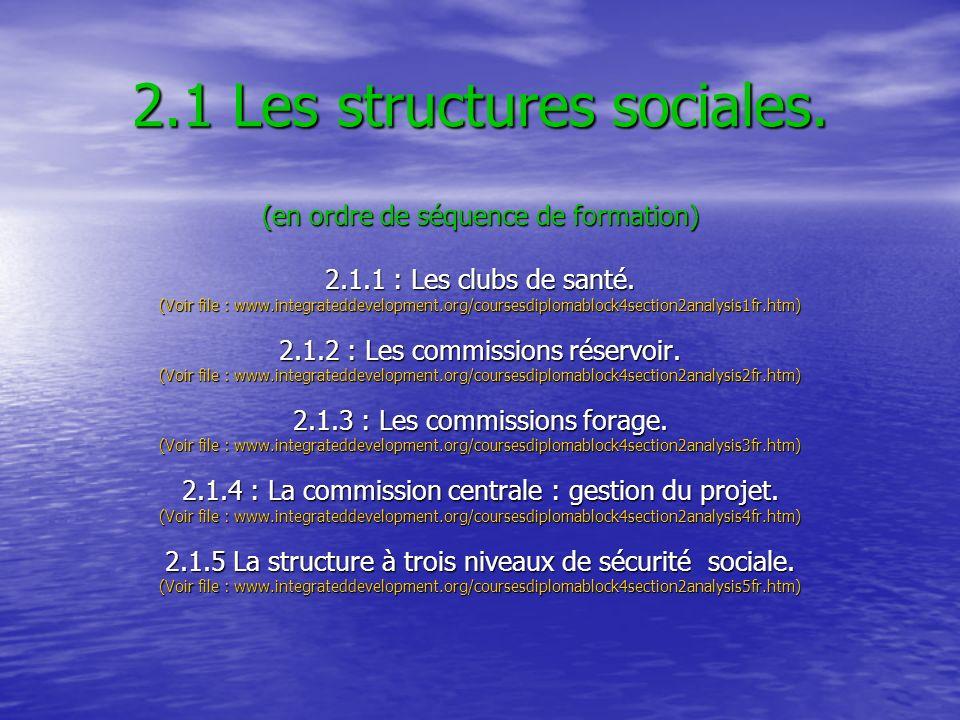 2.1 Les structures sociales. (en ordre de séquence de formation) 2.1.1 : Les clubs de santé. (Voir file : www.integrateddevelopment.org/coursesdiploma