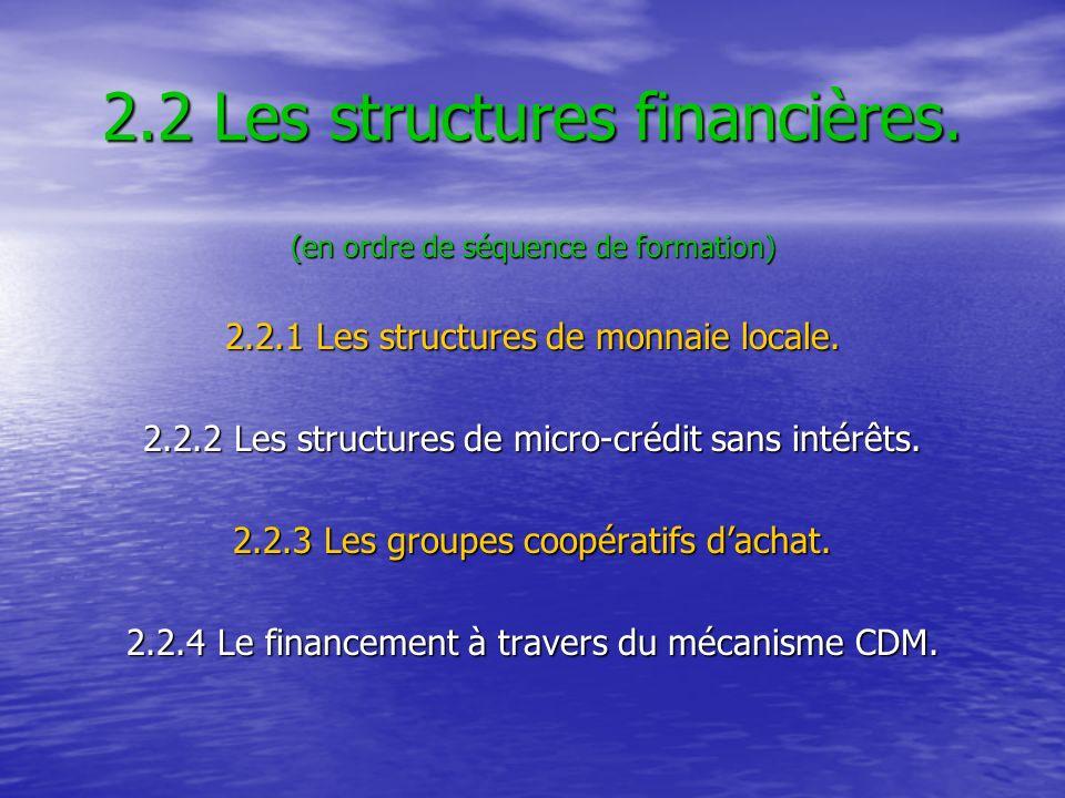 2.2 Les structures financières. (en ordre de séquence de formation) 2.2.1 Les structures de monnaie locale. 2.2.2 Les structures de micro-crédit sans