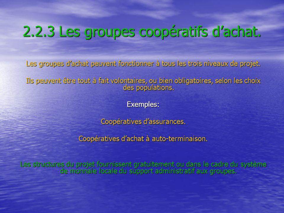 2.2.3 Les groupes coopératifs dachat. Les groupes dachat peuvent fonctionner à tous les trois niveaux de projet. Ils peuvent être tout à fait volontai