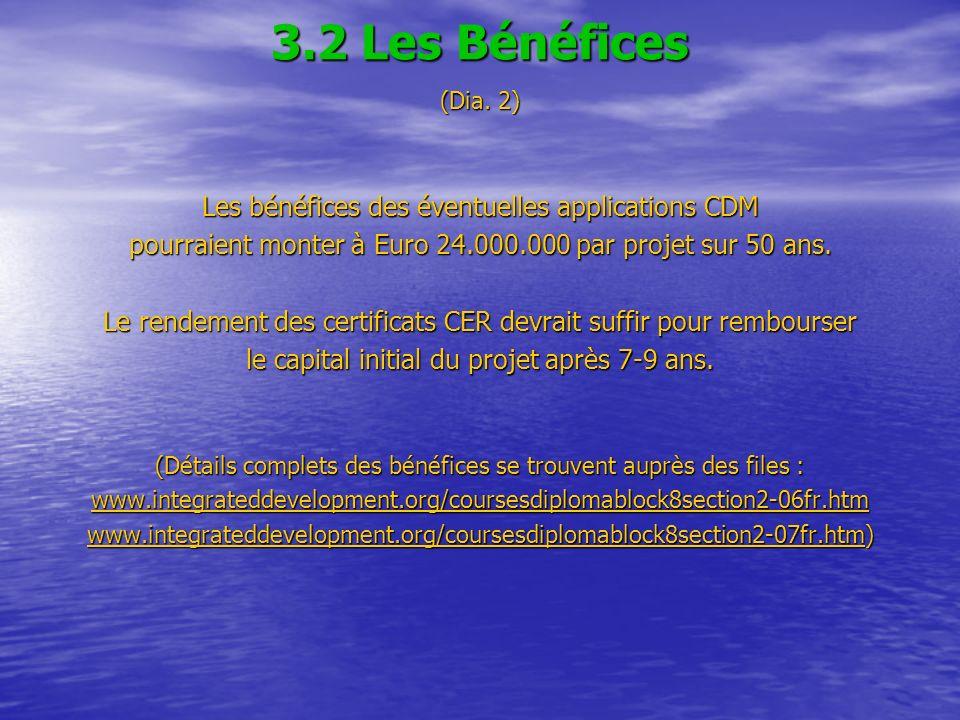 3.2 Les Bénéfices (Dia. 2) Les bénéfices des éventuelles applications CDM pourraient monter à Euro 24.000.000 par projet sur 50 ans. Le rendement des