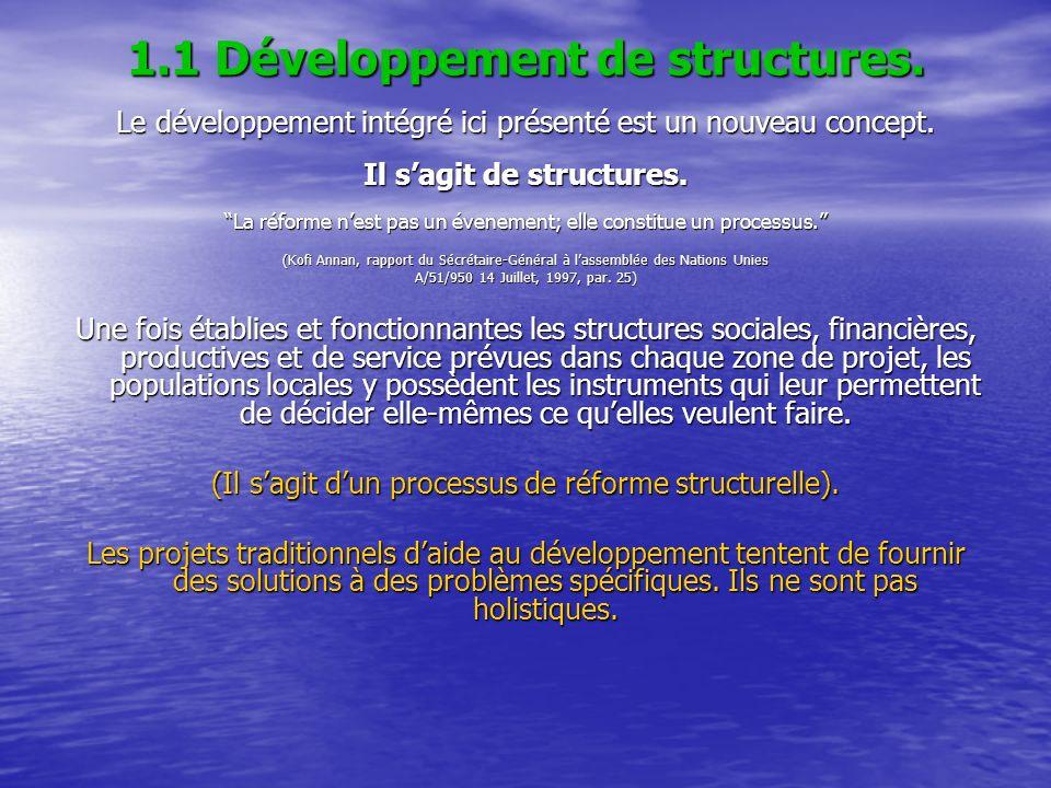 1.1 Développement de structures. Le développement intégré ici présenté est un nouveau concept. Il sagit de structures. La réforme nest pas un évenemen