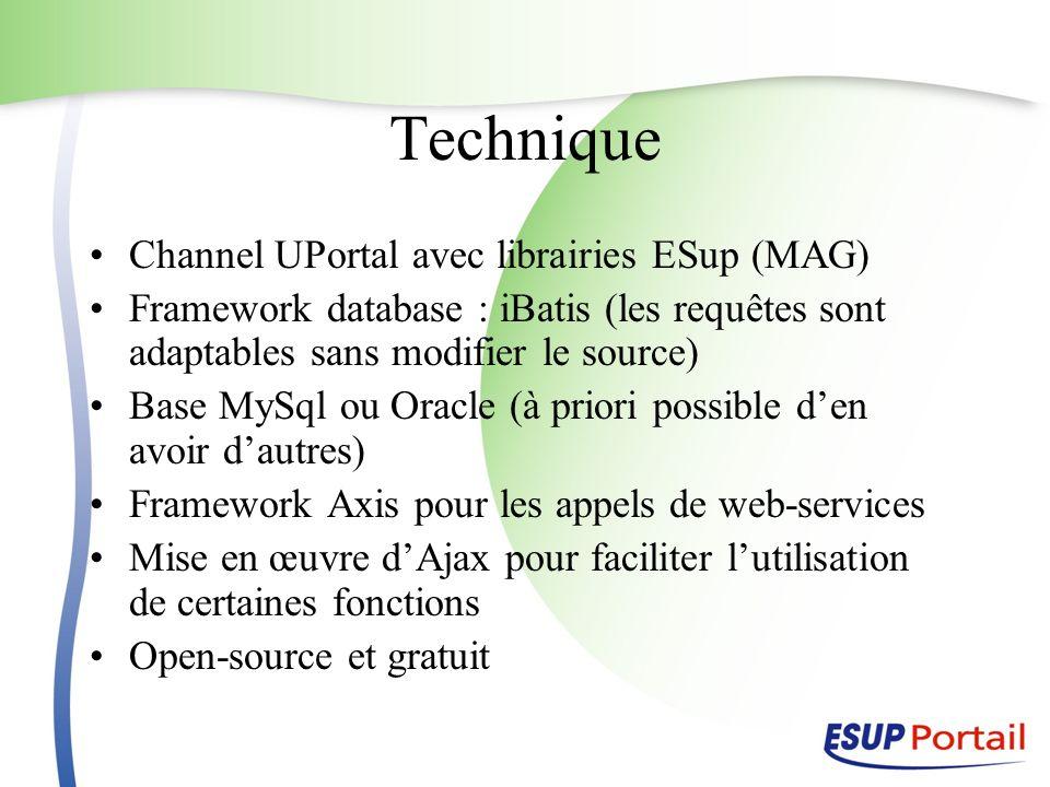 Technique Channel UPortal avec librairies ESup (MAG) Framework database : iBatis (les requêtes sont adaptables sans modifier le source) Base MySql ou