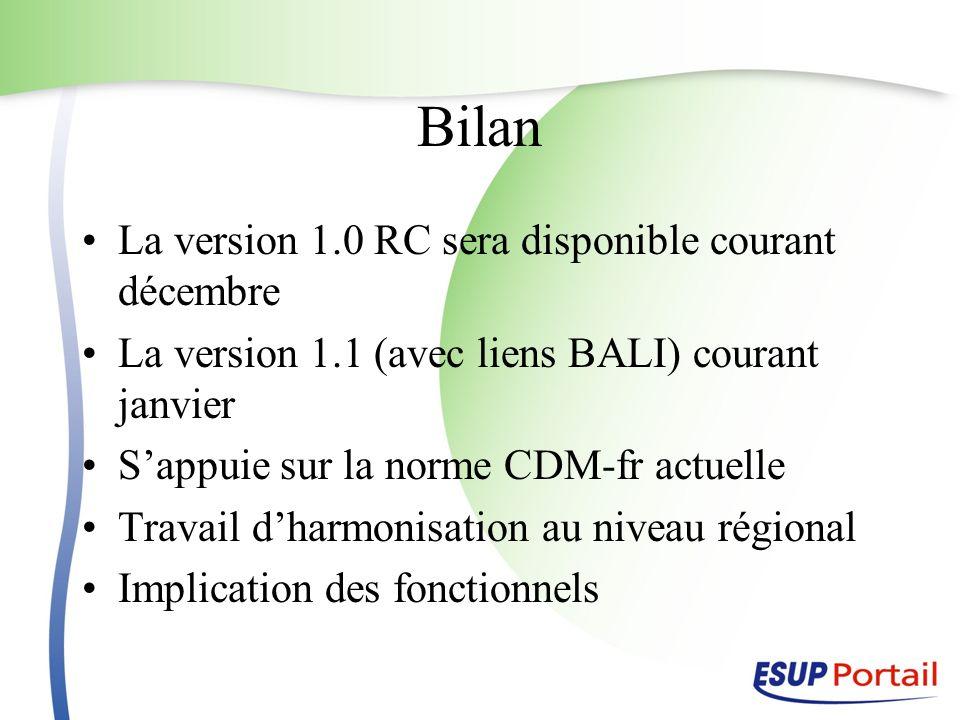 La version 1.0 RC sera disponible courant décembre La version 1.1 (avec liens BALI) courant janvier Sappuie sur la norme CDM-fr actuelle Travail dharm