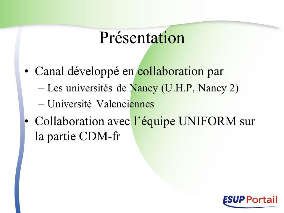 Présentation Canal développé en collaboration par –Les universités de Nancy (U.H.P, Nancy 2) –Université Valenciennes Collaboration avec léquipe UNIFO