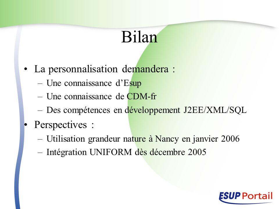 Bilan La personnalisation demandera : –Une connaissance dEsup –Une connaissance de CDM-fr –Des compétences en développement J2EE/XML/SQL Perspectives