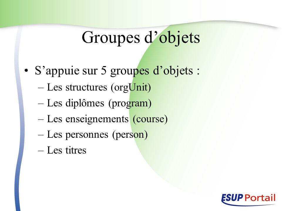 Groupes dobjets Sappuie sur 5 groupes dobjets : –Les structures (orgUnit) –Les diplômes (program) –Les enseignements (course) –Les personnes (person)