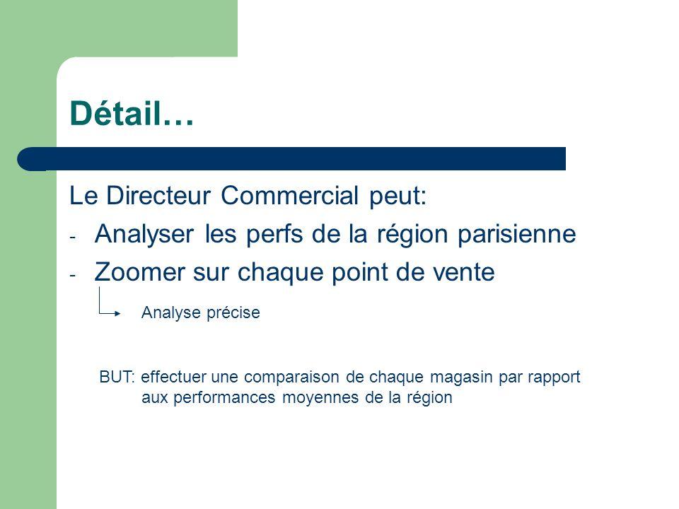 Détail… Le Directeur Commercial peut: - Analyser les perfs de la région parisienne - Zoomer sur chaque point de vente Analyse précise BUT: effectuer u