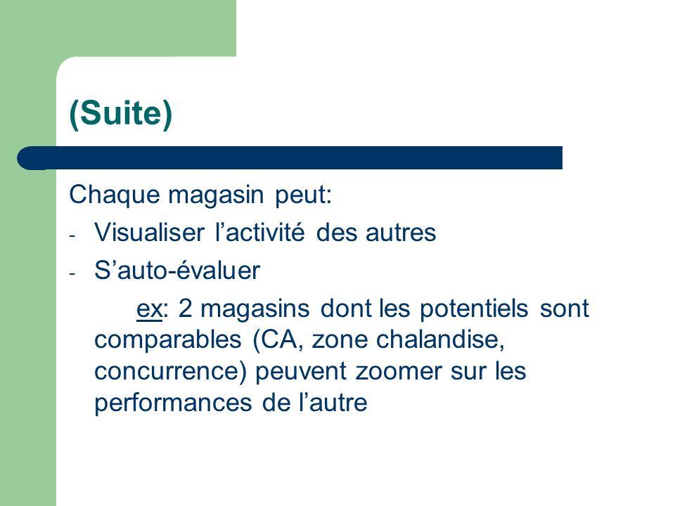 (Suite) Chaque magasin peut: - Visualiser lactivité des autres - Sauto-évaluer ex: 2 magasins dont les potentiels sont comparables (CA, zone chalandis