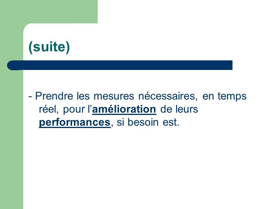 (suite) - Prendre les mesures nécessaires, en temps réel, pour lamélioration de leurs performances, si besoin est.