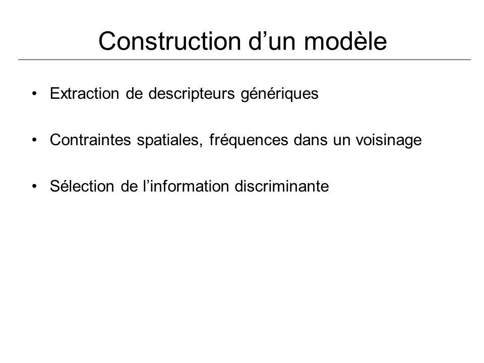 Construction dun modèle Extraction de descripteurs génériques Contraintes spatiales, fréquences dans un voisinage Sélection de linformation discrimina