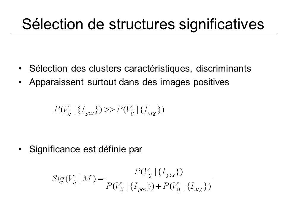 Sélection de structures significatives Sélection des clusters caractéristiques, discriminants Apparaissent surtout dans des images positives Significa