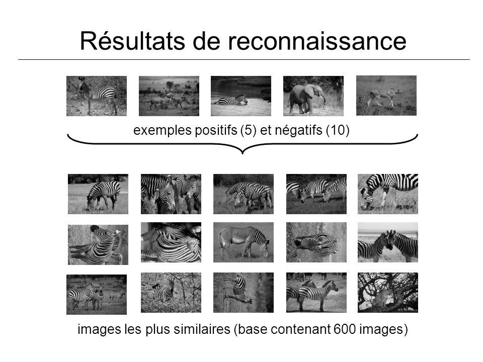 Résultats de reconnaissance exemples positifs (5) et négatifs (10) images les plus similaires (base contenant 600 images)