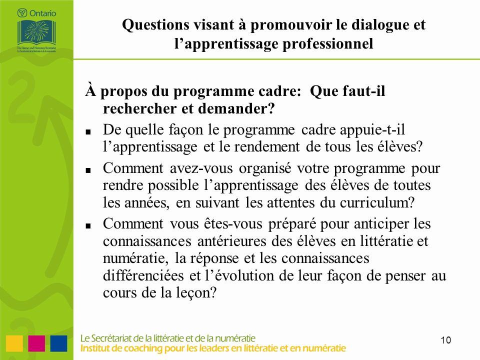 10 Questions visant à promouvoir le dialogue et lapprentissage professionnel À propos du programme cadre: Que faut-il rechercher et demander? De quell