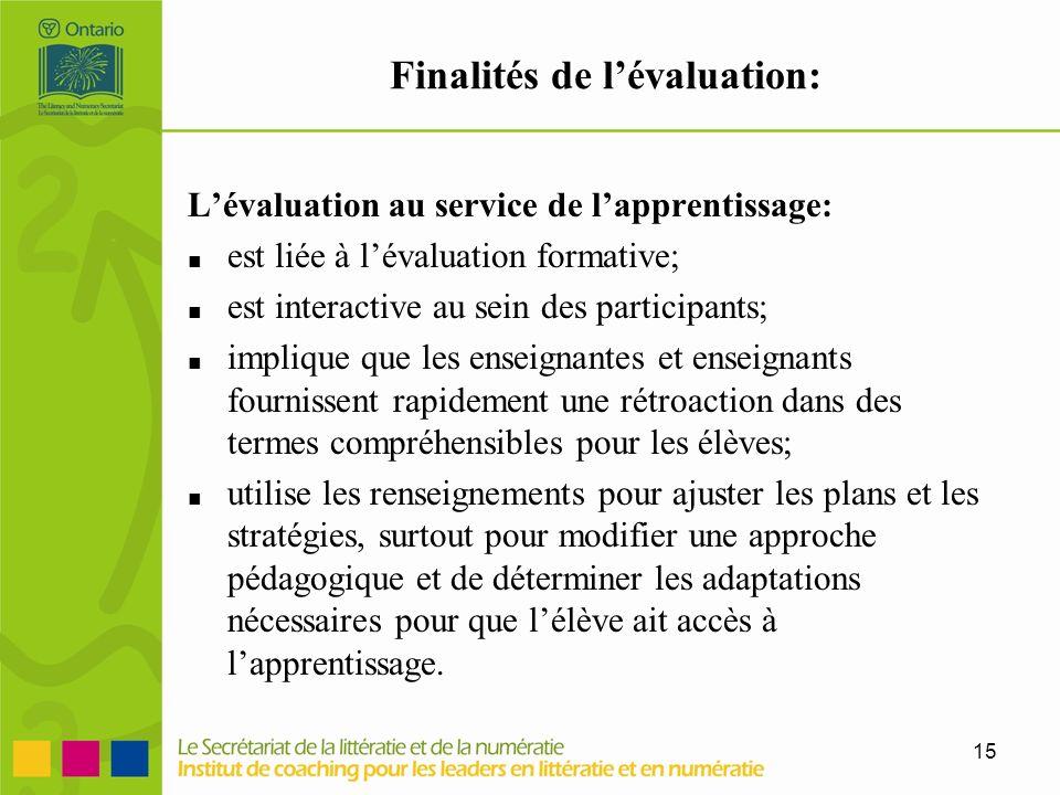 15 Finalités de lévaluation: Lévaluation au service de lapprentissage: est liée à lévaluation formative; est interactive au sein des participants; imp