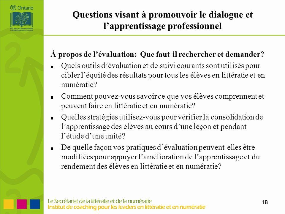 18 Questions visant à promouvoir le dialogue et lapprentissage professionnel À propos de lévaluation: Que faut-il rechercher et demander? Quels outils