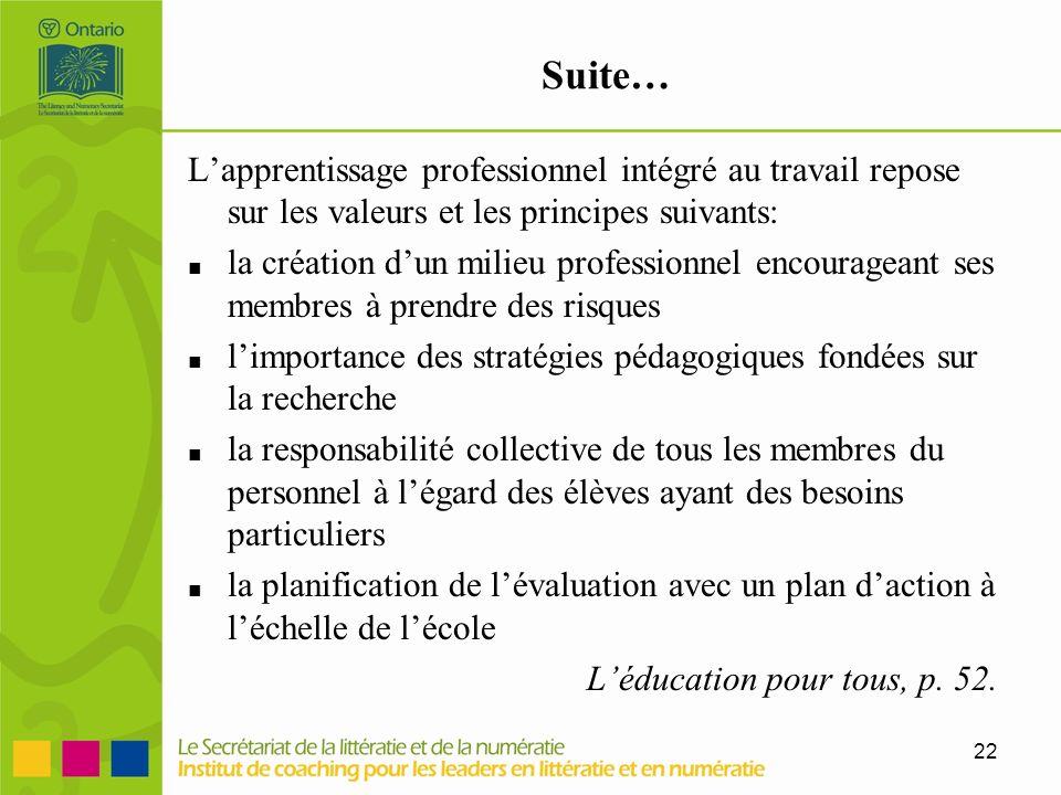 22 Suite… Lapprentissage professionnel intégré au travail repose sur les valeurs et les principes suivants: la création dun milieu professionnel encou