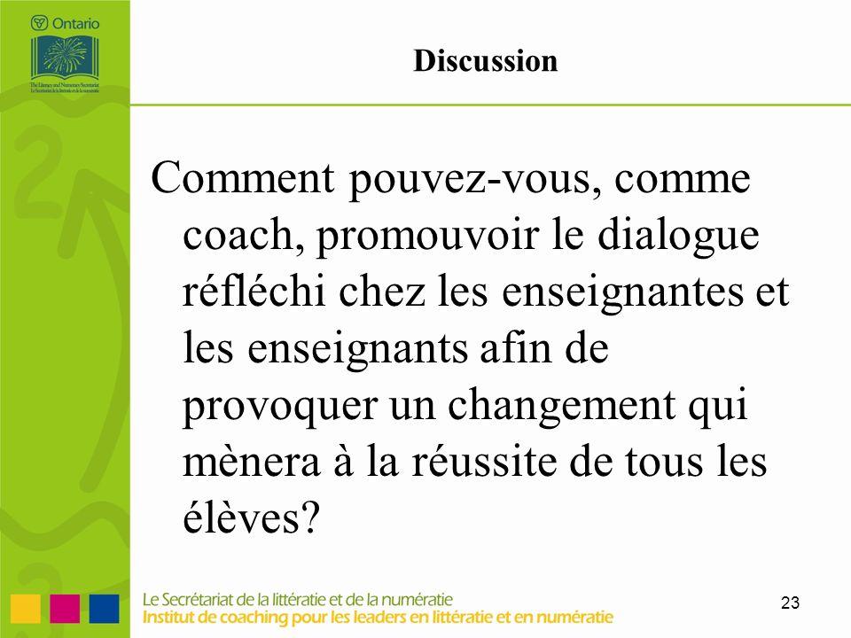 23 Discussion Comment pouvez-vous, comme coach, promouvoir le dialogue réfléchi chez les enseignantes et les enseignants afin de provoquer un changeme