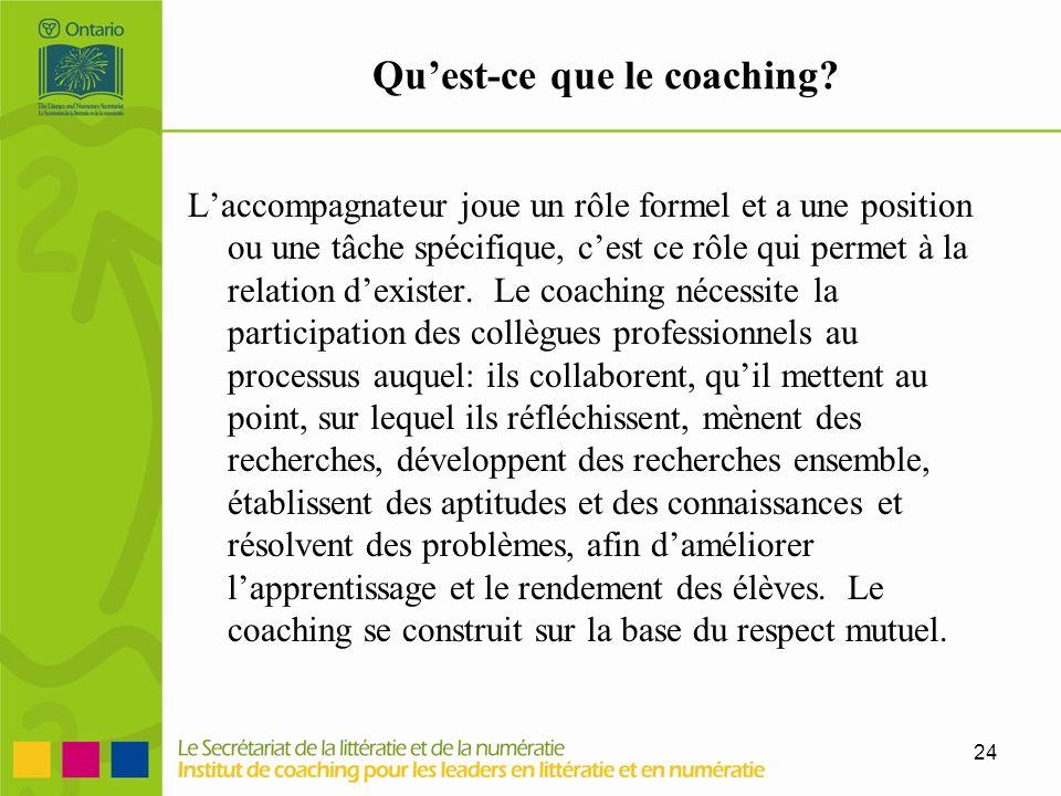 24 Quest-ce que le coaching? Laccompagnateur joue un rôle formel et a une position ou une tâche spécifique, cest ce rôle qui permet à la relation dexi