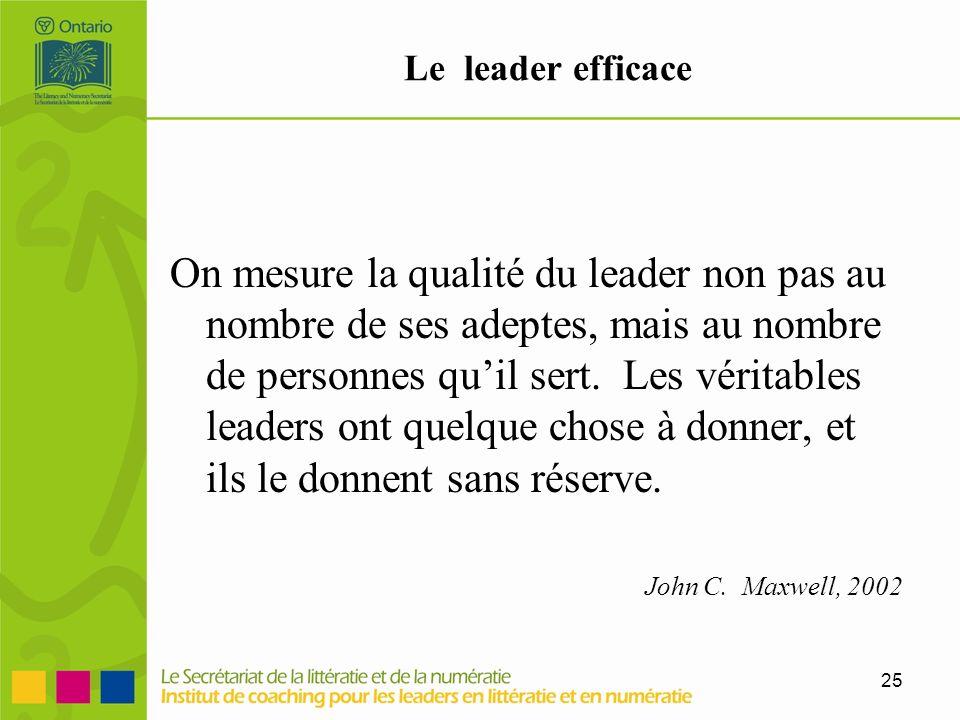 25 Le leader efficace On mesure la qualité du leader non pas au nombre de ses adeptes, mais au nombre de personnes quil sert. Les véritables leaders o