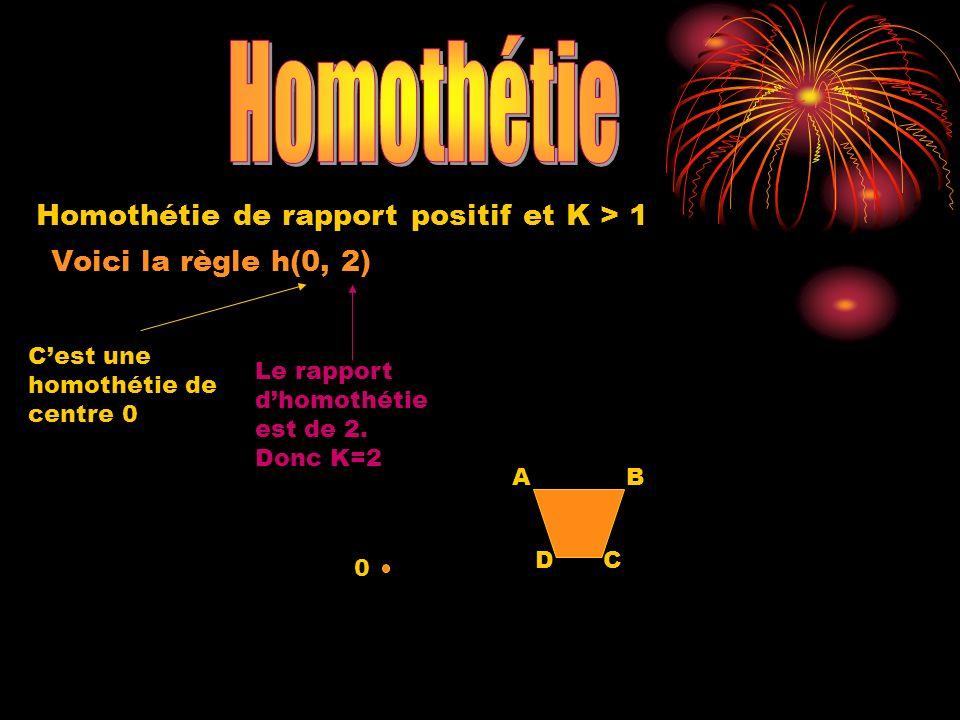 Voici la règle h(0, 2) Cest une homothétie de centre 0 0 Le rapport dhomothétie est de 2.