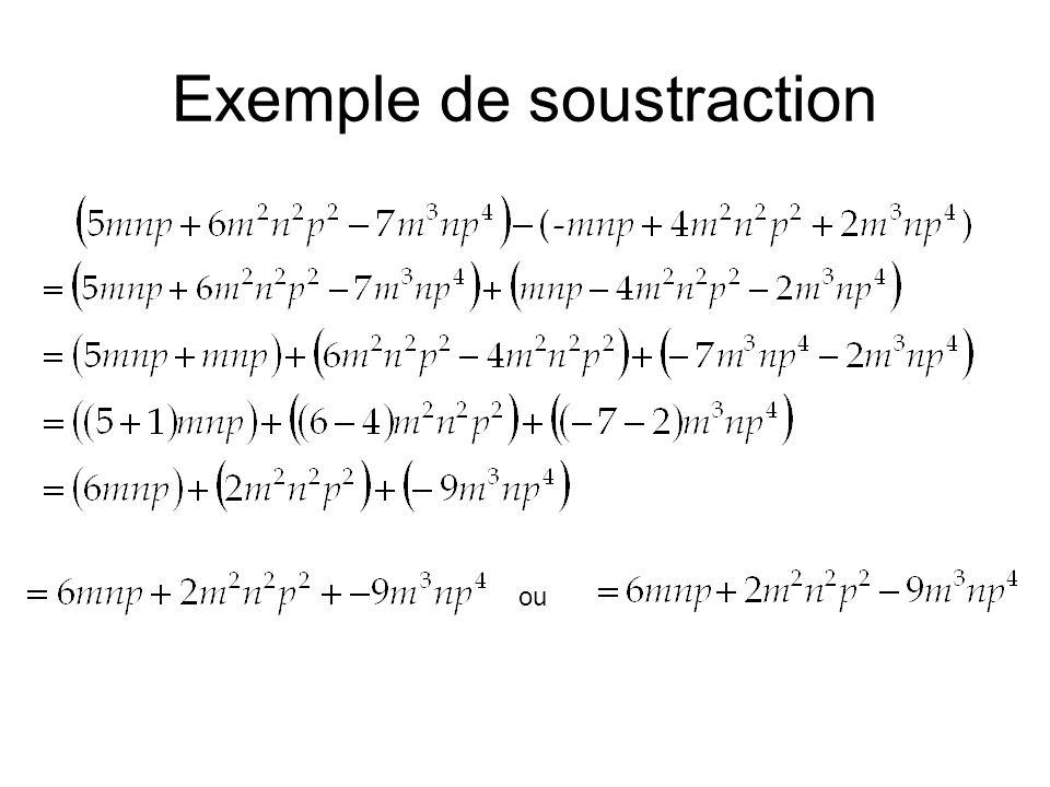 Exemple de soustraction ou
