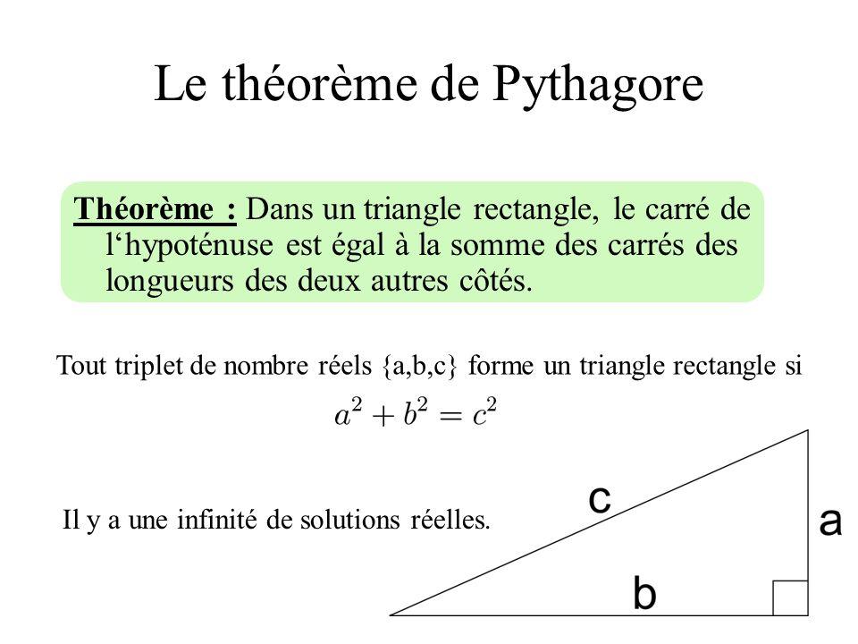 Le théorème de Pythagore Théorème : Dans un triangle rectangle, le carré de lhypoténuse est égal à la somme des carrés des longueurs des deux autres c