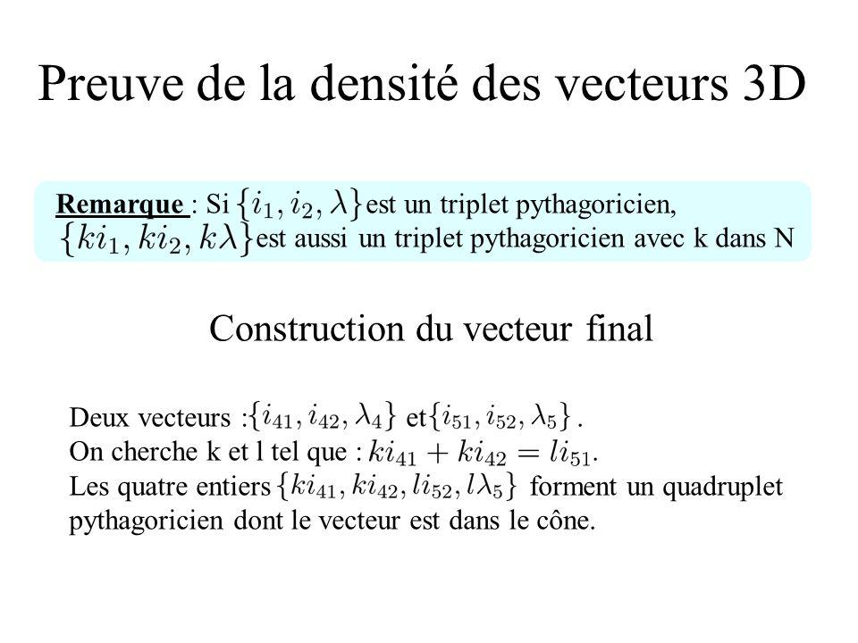 Preuve de la densité des vecteurs 3D Construction du vecteur final Deux vecteurs : et. On cherche k et l tel que :. Les quatre entiers forment un quad