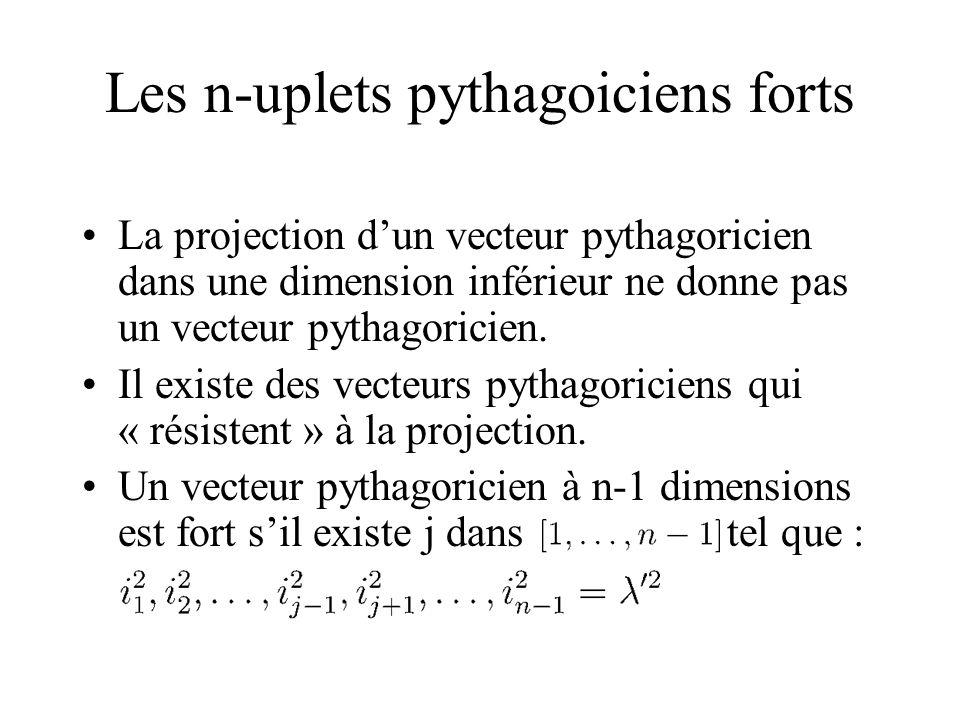 Les n-uplets pythagoiciens forts La projection dun vecteur pythagoricien dans une dimension inférieur ne donne pas un vecteur pythagoricien. Il existe