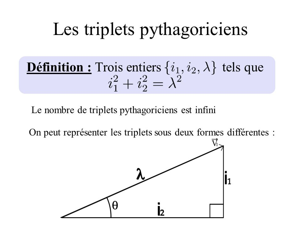 Les triplets pythagoriciens Définition : Trois entiers tels que Le nombre de triplets pythagoriciens est infini On peut représenter les triplets sous