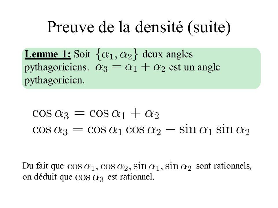 Preuve de la densité (suite) Du fait que sont rationnels, on déduit que est rationnel. Lemme 1: Soit deux angles pythagoriciens. est un angle pythagor