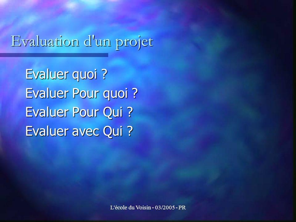L école du Voisin - 03/2005 - PR Evaluation du projet de chaque groupe de travail Toute évaluation est un jugement porté sur un écart entre des éléments d une situation souhaitée et les éléments correspondant de la situation réelle.