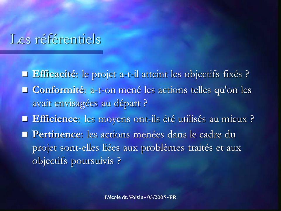 L école du Voisin - 03/2005 - PR Quels sont les critères d évaluation .