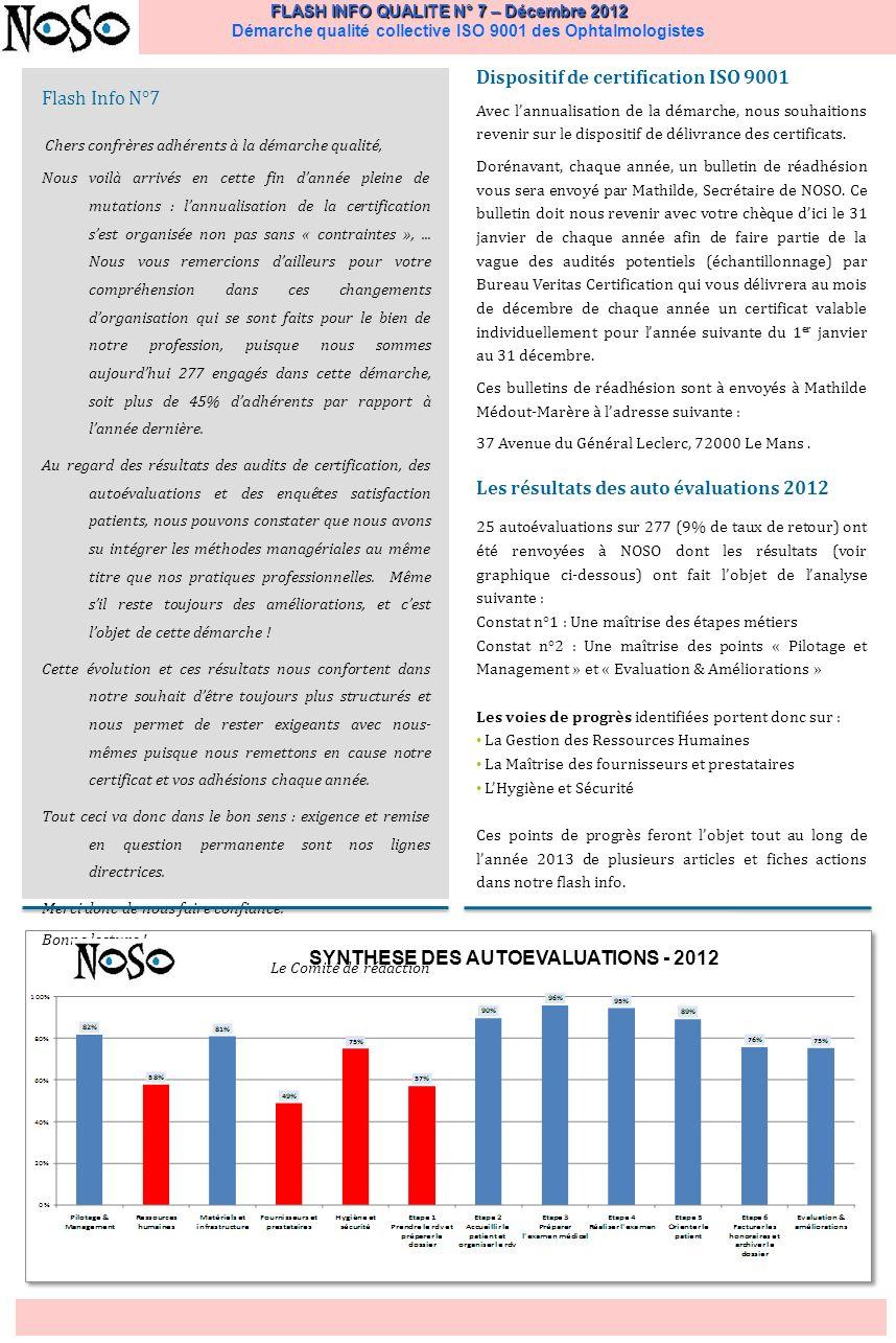 FLASH INFO QUALITE N° 7 – Décembre 2012 FLASH INFO QUALITE N° 7 – Décembre 2012 Démarche qualité collective ISO 9001 des Ophtalmologistes Et, en cas de non-conformité significative et, pour passer du traitement immédiat à laction efficace sur le long terme, le médecin et/ou le correspondant qualité renseigne au titre du partage dexpérience, une « fiche de progrès » quil peut saisir directement sur le site Internet www.noso.org.www.noso.org Témoignage du Docteur Roland Pagot, « De lutilité dun cahier de liaison informatisé » « Le cahier de liaison représente le meilleur moyen de communication entre les différents intervenants dun cabinet.