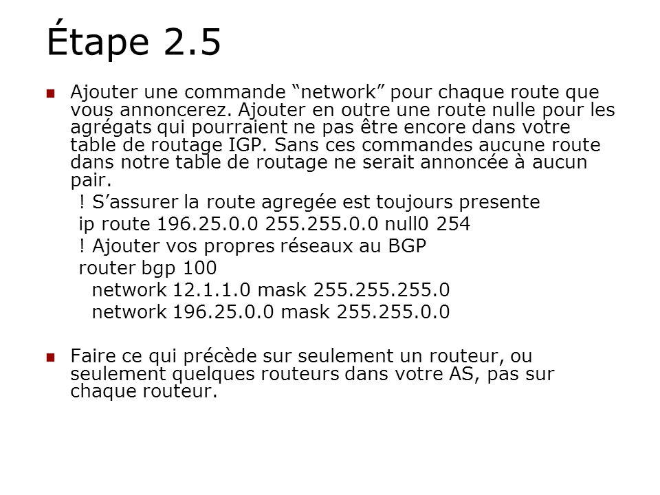 Étape 2.5 Ajouter une commande network pour chaque route que vous annoncerez. Ajouter en outre une route nulle pour les agrégats qui pourraient ne pas