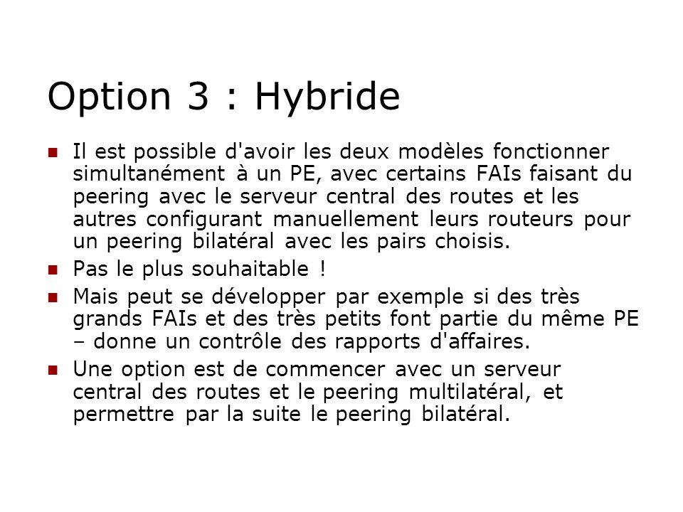 Option 3 : Hybride Il est possible d'avoir les deux modèles fonctionner simultanément à un PE, avec certains FAIs faisant du peering avec le serveur c