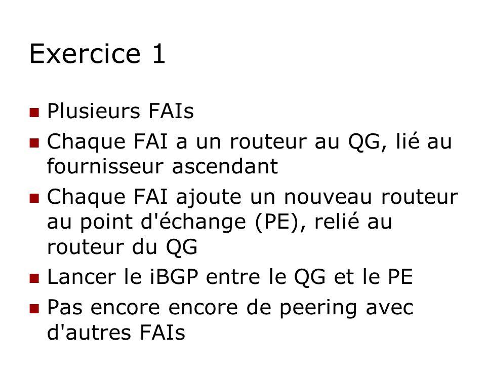 Exercice 1 Plusieurs FAIs Chaque FAI a un routeur au QG, lié au fournisseur ascendant Chaque FAI ajoute un nouveau routeur au point d'échange (PE), re