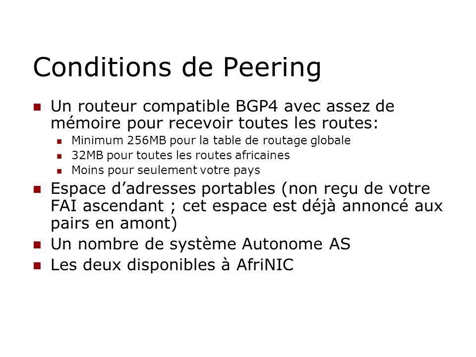 Conditions de Peering Un routeur compatible BGP4 avec assez de mémoire pour recevoir toutes les routes: Minimum 256MB pour la table de routage globale