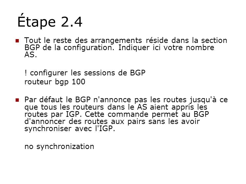 Étape 2.4 Tout le reste des arrangements réside dans la section BGP de la configuration. Indiquer ici votre nombre AS. ! configurer les sessions de BG