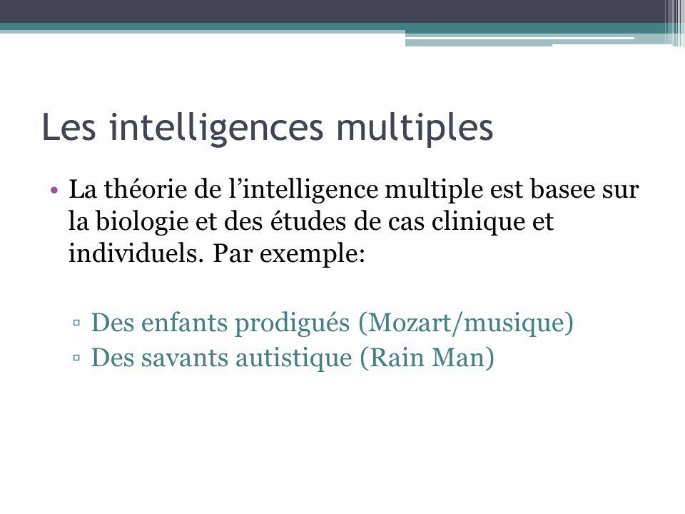Les intelligences multiples La théorie de lintelligence multiple est basee sur la biologie et des études de cas clinique et individuels. Par exemple: