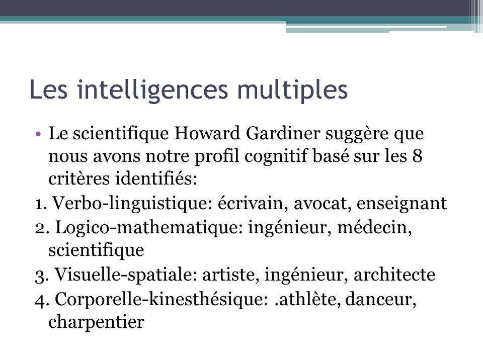 Les intelligences multiples Le scientifique Howard Gardiner suggère que nous avons notre profil cognitif basé sur les 8 critères identifiés: 1. Verbo-