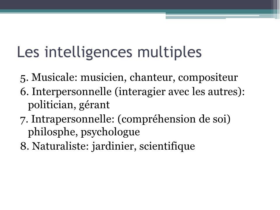 Les intelligences multiples 5. Musicale: musicien, chanteur, compositeur 6. Interpersonnelle (interagier avec les autres): politician, gérant 7. Intra