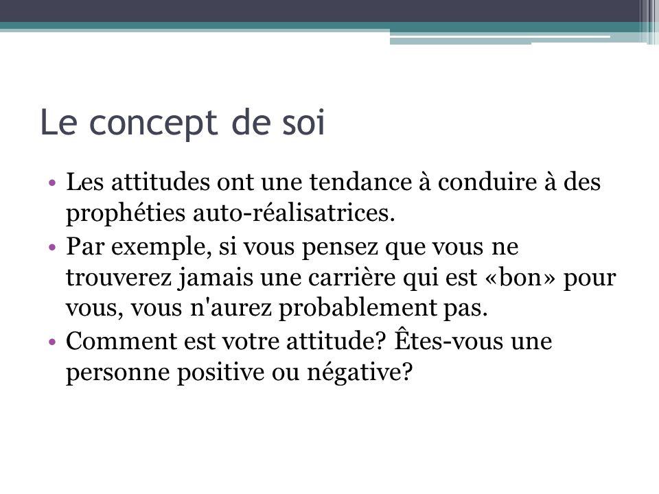 Le concept de soi Les attitudes ont une tendance à conduire à des prophéties auto-réalisatrices. Par exemple, si vous pensez que vous ne trouverez jam